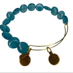 Alex & Ani Blue Beaded Gold Tone Expandable Bangle